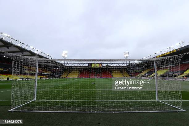 General view inside the stadium prior to the Sky Bet Championship match between Watford and Swansea City at Vicarage Road on May 08, 2021 in Watford,...