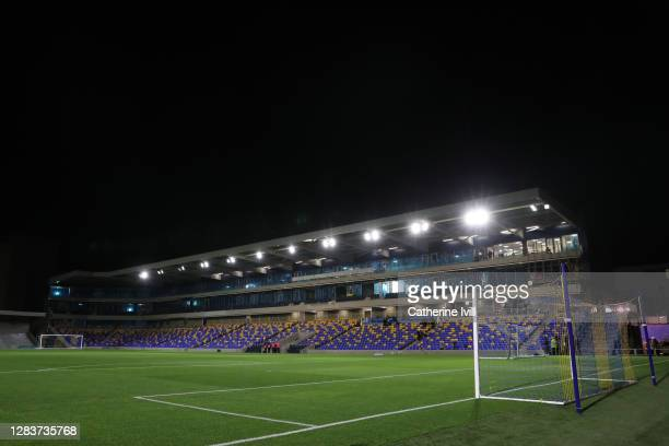 General view inside the stadium prior to the Sky Bet League One match between AFC Wimbledon and Doncaster Rovers at Plough Lane on November 03, 2020...