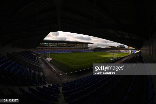 General view inside the stadium prior to the Sky Bet League One match between AFC Wimbledon and Lincoln City at Plough Lane on January 02, 2021 in...