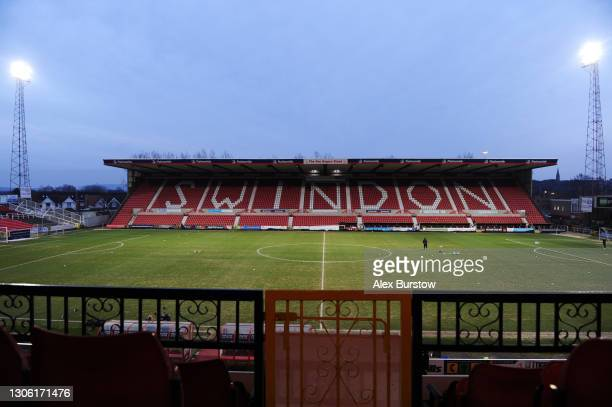 General view inside the stadium prior to the Sky Bet League One match between Swindon Town and Oxford United at County Ground on March 09, 2021 in...