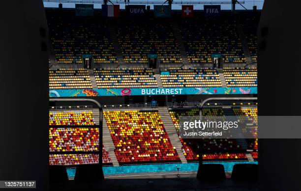 General view inside the stadium prior to the Switzerland Training Session ahead of the UEFA Euro 2020 Round of 16 match between France and...
