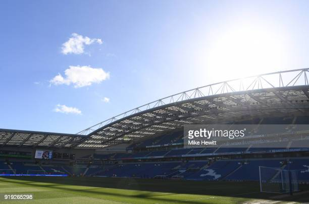 General view inside the stadium prior to the The Emirates FA Cup Fifth Round between Brighton and Hove Albion v Coventry City at Amex Stadium on...