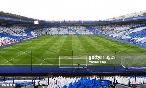 A general view inside the stadium prior to the The Emirates FA Cup Quarter Final match between Leicester City and Chelsea at The King Power Stadium...