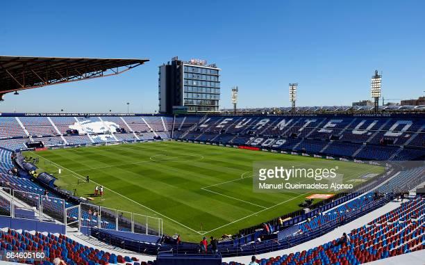 General view inside the stadium prior to the the La Liga match between Levante and Getafe at Ciutat de Valencia Stadium on October 21 2017 in...