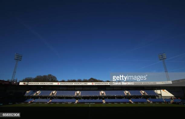 A general view inside the stadium prior to the U21 international friendly match between Denmark and England at BioNutria Park on March 27 2017 in...