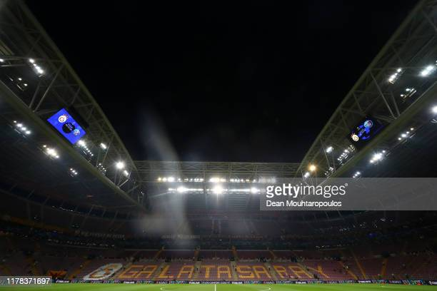 General view inside the stadium prior to the UEFA Champions League group A match between Galatasaray and Paris SaintGermain at Turk Telekom Arena on...