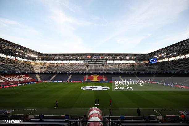 General view inside the stadium prior to the UEFA Champions League Group A stage match between RB Salzburg and Lokomotiv Moskva at Red Bull Arena on...