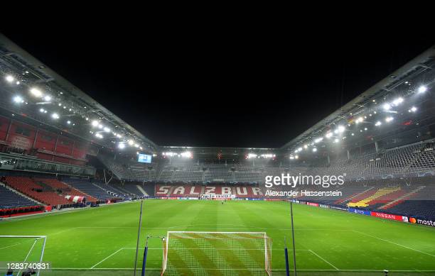 General view inside the stadium prior to the UEFA Champions League Group A stage match between RB Salzburg and FC Bayern Muenchen at Red Bull Arena...
