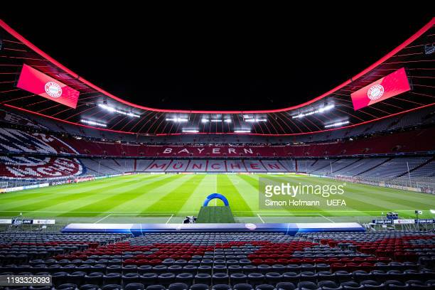 General view inside the stadium prior to the UEFA Champions League group B match between Bayern Muenchen and Tottenham Hotspur at Allianz Arena on...