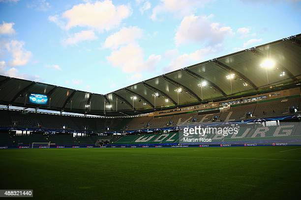 A general view inside the stadium prior to the UEFA Champions League Group B match between VfL Wolfsburg and PFC CSKA Moskva at Volkswagen Arena on...