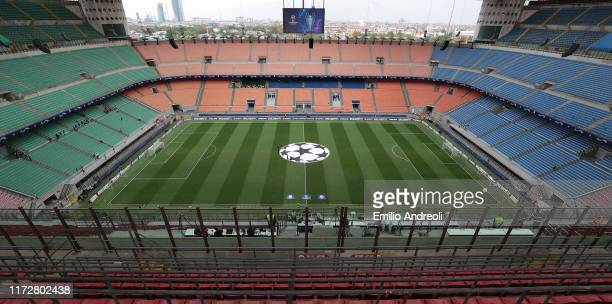General view inside the stadium prior to the UEFA Champions League group C match between Atalanta and Shakhtar Donetsk at Stadio Giuseppe Meazza on...