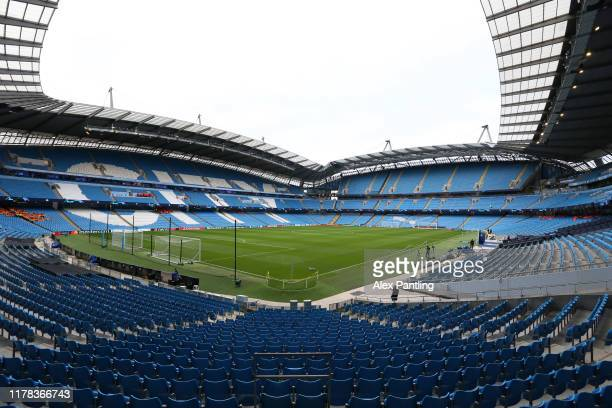General view inside the stadium prior to the UEFA Champions League group C match between Manchester City and Dinamo Zagreb at Etihad Stadium on...