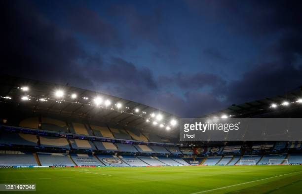 General view inside the stadium prior to the UEFA Champions League Group C stage match between Manchester City and FC Porto at Etihad Stadium on...