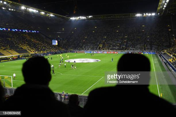 General view inside the stadium prior to the UEFA Champions League group C match between Borussia Dortmund and Sporting CP at Signal Iduna Park on...