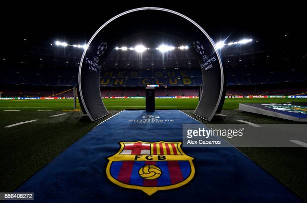 A general view inside the stadium prior to the UEFA Champions League group D match between FC Barcelona and Sporting CP at Camp Nou on December 5...