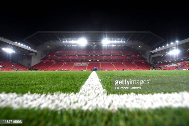 General view inside the stadium prior to the UEFA Champions League group E match between Liverpool FC and KRC Genk at Anfield on November 05, 2019 in...