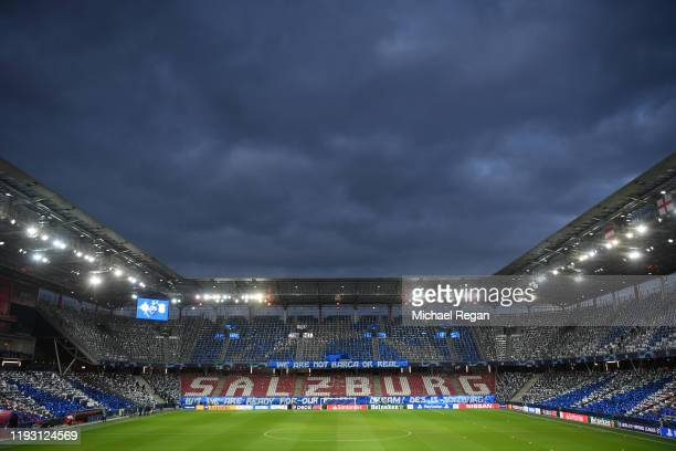 A general view inside the stadium prior to the UEFA Champions League group E match between RB Salzburg and Liverpool FC at Red Bull Arena on December...