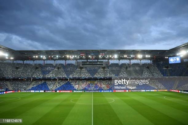 General view inside the stadium prior to the UEFA Champions League group E match between RB Salzburg and Liverpool FC at Red Bull Arena on December...