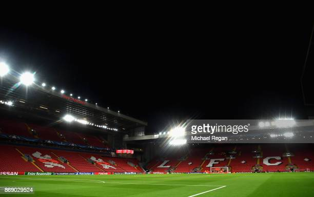 A general view inside the stadium prior to the UEFA Champions League group E match between Liverpool FC and NK Maribor at Anfield on November 1 2017...
