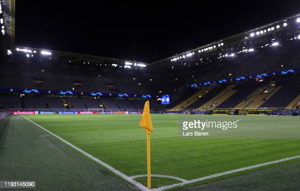 General view inside the stadium prior to the UEFA Champions League group F match between Borussia Dortmund and Slavia Praha at Signal Iduna Park on...