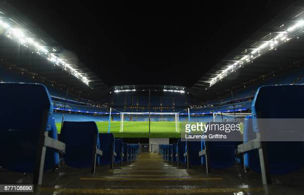 General view inside the stadium prior to the UEFA Champions League group F match between Manchester City and Feyenoord at Etihad Stadium on November...
