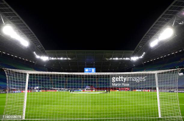 General view inside the stadium prior to the UEFA Champions League group G match between RB Leipzig and SL Benfica at Red Bull Arena on November 27,...