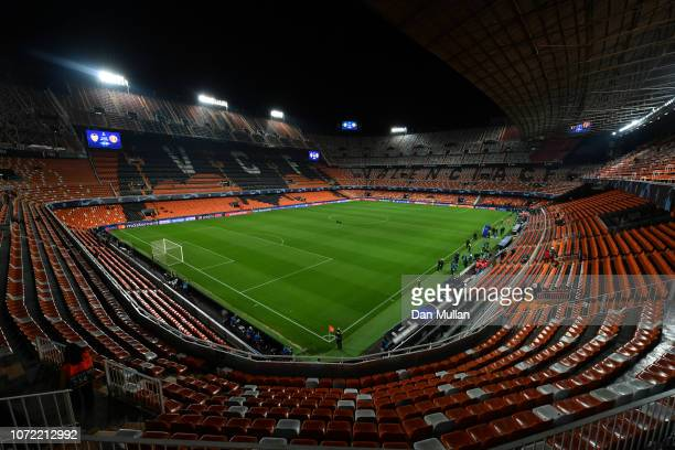 General view inside the stadium prior to the UEFA Champions League Group H match between Valencia and Manchester United at Estadio Mestalla on...
