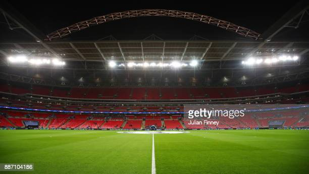 General view inside the stadium prior to the UEFA Champions League group H match between Tottenham Hotspur and APOEL Nicosia at Wembley Stadium on...