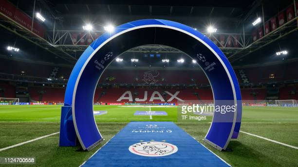 General view inside the stadium prior to the UEFA Champions League Round of 16 First Leg match between Ajax and Real Madrid at Johan Cruyff Arena on...