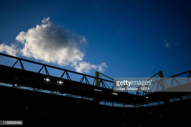 General view inside the stadium prior to the UEFA Champions League Round of 16 Second Leg match between Borussia Dortmund and Tottenham Hotspur at...