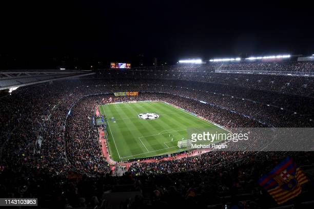 General view inside the stadium prior to the UEFA Champions League Quarter Final second leg match between FC Barcelona and Manchester United at Camp...