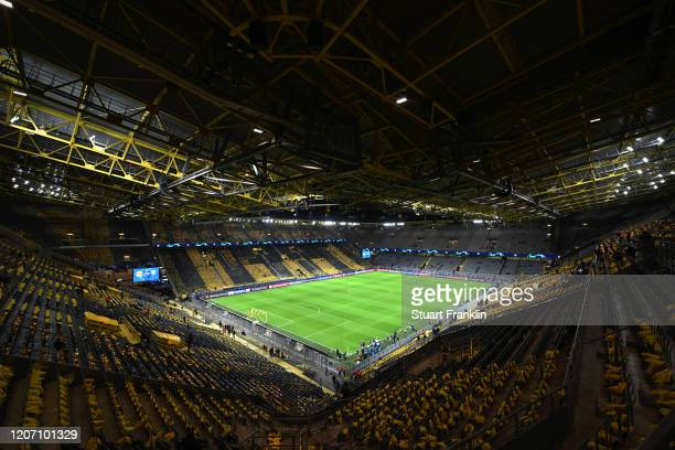 General view inside the stadium prior to the UEFA Champions League round of 16 first leg match between Borussia Dortmund and Paris SaintGermain at...