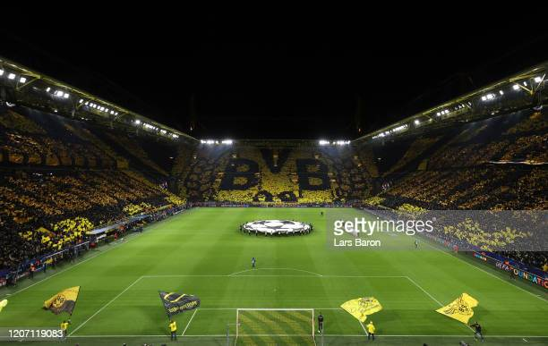 General view inside the stadium prior to the UEFA Champions League round of 16 first leg match between Borussia Dortmund and Paris Saint-Germain at...