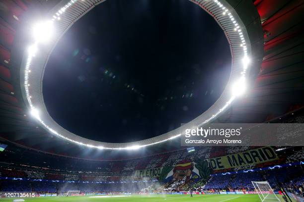 General view inside the stadium prior to the UEFA Champions League round of 16 first leg match between Atletico Madrid and Liverpool FC at Wanda...