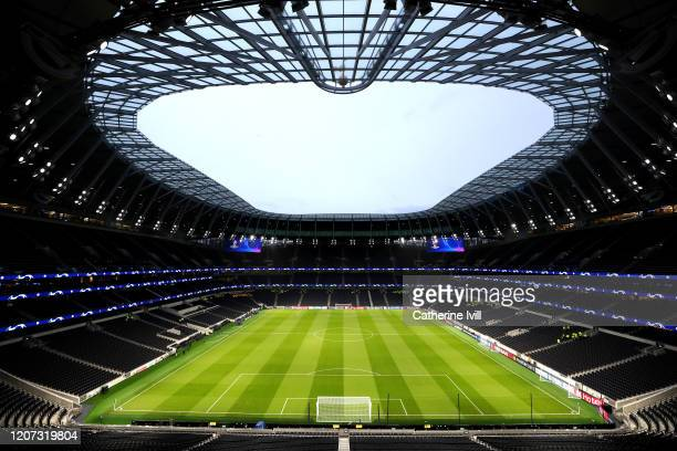 General view inside the stadium prior to the UEFA Champions League round of 16 first leg match between Tottenham Hotspur and RB Leipzig at Tottenham...