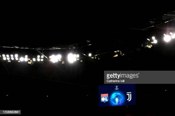 General view inside the stadium prior to the UEFA Champions League round of 16 first leg match between Olympique Lyon and Juventus at Parc Olympique...