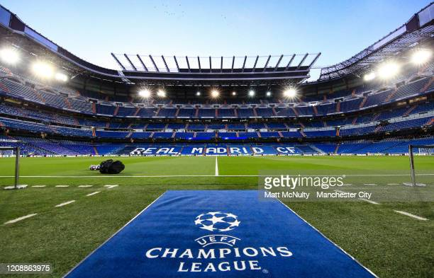 General view inside the stadium prior to the UEFA Champions League round of 16 first leg match between Real Madrid and Manchester City at Bernabeu on...