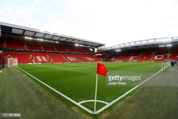 General view inside the stadium prior to the UEFA Champions League round of 16 second leg match between Liverpool FC and Atletico Madrid at Anfield...