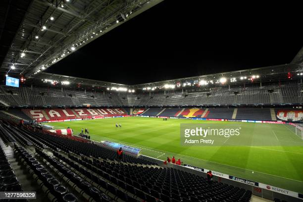 General view inside the stadium prior to the UEFA Champions League Play-Off second leg match between RB Salzburg and Maccabi Tel-Aviv at Red Bull...