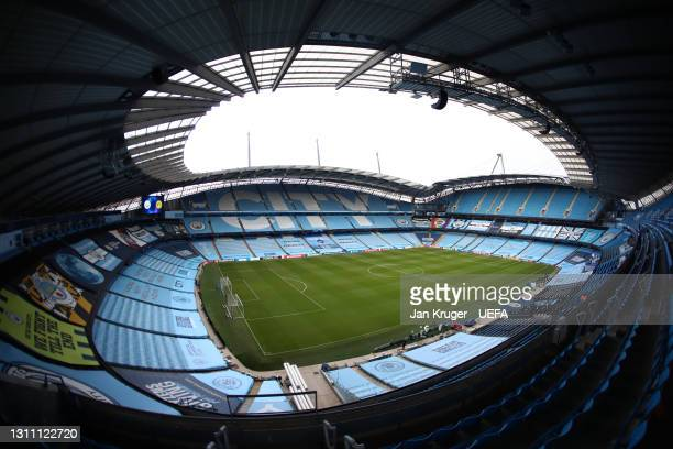 General view inside the stadium prior to the UEFA Champions League Quarter Final match between Manchester City and Borussia Dortmund at Etihad...