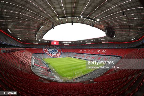 General view inside the stadium prior to the UEFA Champions League Quarter Final match between FC Bayern Munich and Paris Saint-Germain at Allianz...