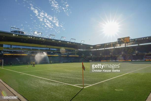 General view inside the stadium prior to the UEFA Champions League Third Qualifying Round Leg Two match between BSC Young Boys and CFR Cluj at...