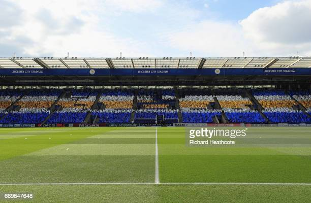 General view inside the stadium prior to the UEFA Champions League Quarter Final second leg match between Leicester City and Club Atletico de Madrid...