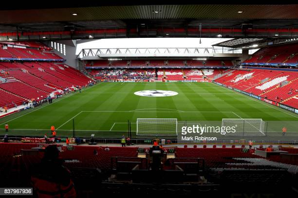 General view inside the stadium prior to the UEFA Champions League Qualifying PlayOffs round second leg match between Liverpool FC and 1899...