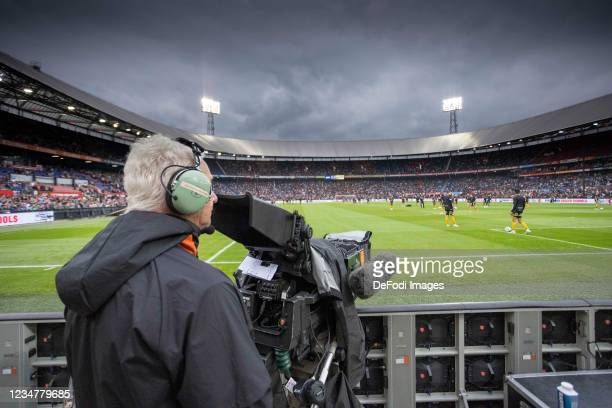 General view inside the stadium prior to the UEFA Conference League Play-Off Leg One Match between Feyenoord and Elfsborg at De Kuip on August 19,...
