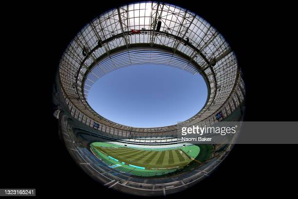 General view inside the stadium prior to the UEFA Euro 2020 Championship Group A match between Wales and Switzerland at Baku Olimpiya Stadionu on...