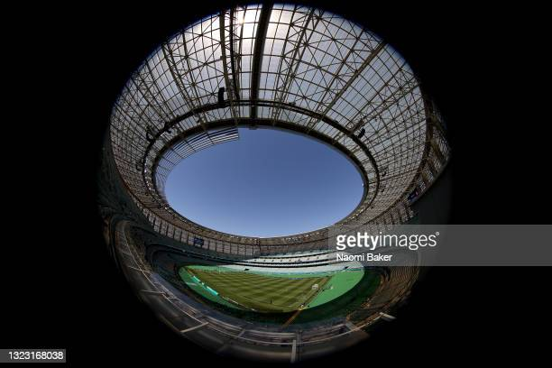 General view inside the stadium prior to the UEFA Euro 2020 Championship Group A match between Wales and Switzerland at the Baku Olympic Stadium on...
