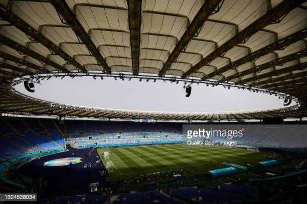 General view inside the stadium prior to the UEFA Euro 2020 Championship Group A match between Italy and Wales at Olimpico Stadium on June 20, 2021...