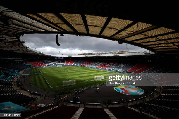 General view inside the stadium prior to the UEFA Euro 2020 Championship Group D match between Scotland v Czech Republic at Hampden Park on June 14,...