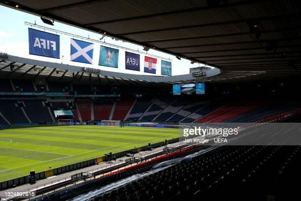 General view inside the stadium prior to the UEFA Euro 2020 Championship Group D match between Croatia and Scotland at Hampden Park on June 22, 2021...